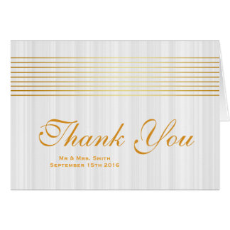 White Soft Gold Striped Sleek Thank You Card