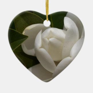 white southern magnolia flower bud ceramic ornament