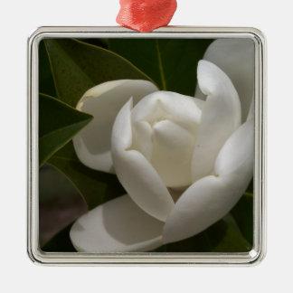 white southern magnolia flower bud metal ornament