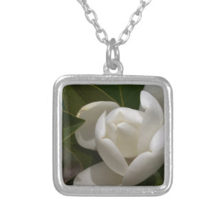 white southern magnolia flower bud silver plated necklace