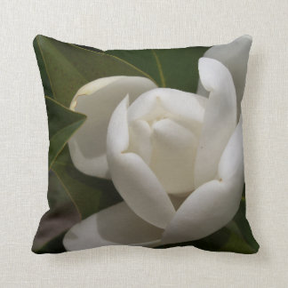 white southern magnolia flower bud throw pillow