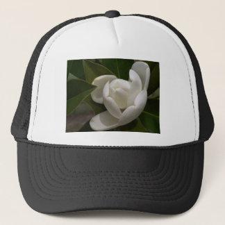 white southern magnolia flower bud trucker hat