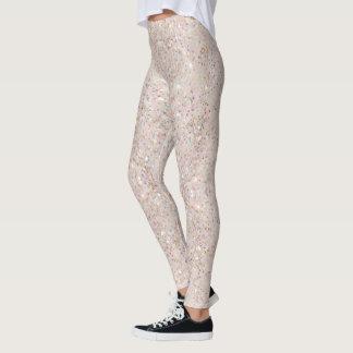 White Sparkle Glitter Pattern Leggings
