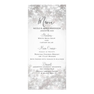 White Sparkle Snowflakes Winter Wedding Menu