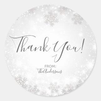 White Sparkle Snowflakes Winter Wonderland Wedding Classic Round Sticker