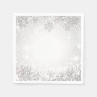 White Sparkle Snowflakes Winter Wonderland Wedding Paper Napkin