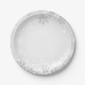 White Sparkle Snowflakes Winter Wonderland Wedding Paper Plate