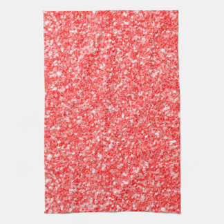White Sparks And Red Glitter Pattern Kitchen Towel