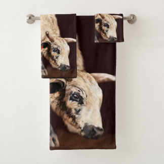 White Speckled Bucking Rodeo Bull Print Bath Towel Set