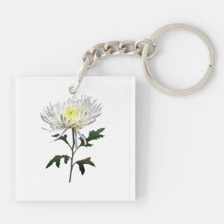 White Spider Mum Keychain