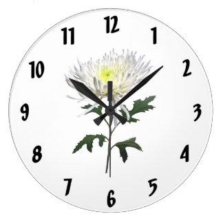 White Spider Mum Large Clock