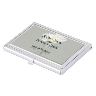 White Spider Mum Wedding Products Business Card Holder