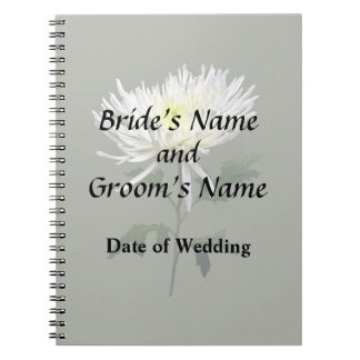 White Spider Mum Wedding Products Notebooks