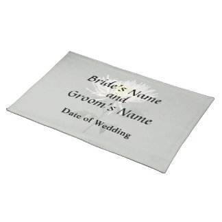 White Spider Mum Wedding Products Placemat
