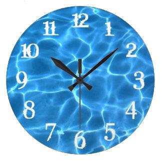 White Splash Numbers Blue Swimming Pool Large Clock