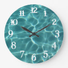 White Splash Numbers Swimming Pool Wall Clock