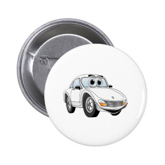 White Sports Car Cartoon 2 Inch Round Button