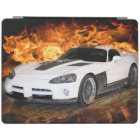White sports car racing through flames. iPad cover