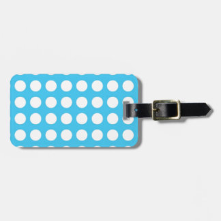 White Spots On Mid Blue Luggage Tag
