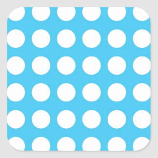 White Spots On Mid Blue Square Sticker