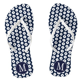 White Spots Pattern and Navy Blue With Monogram Flip Flops