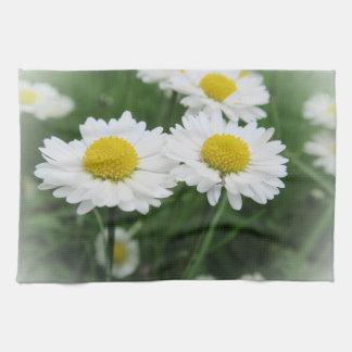white spring blossom kitchen towel