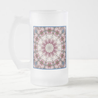 White spring blossoms 2.0.3, mandala style frosted glass beer mug