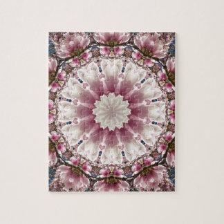 White spring blossoms 2.0, mandala style jigsaw puzzle