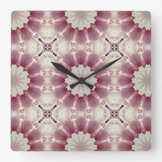 White spring blossoms 2.0, mandala style square wall clock