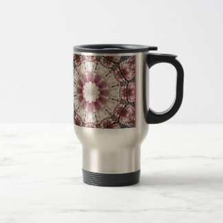 White spring blossoms 2.0, mandala style travel mug