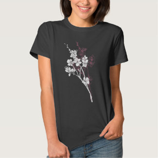 White Spring Blossoms on Acai Pink Tee Shirt