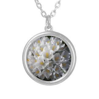WHITE SPRING CROCUSES SILVER PLATED NECKLACE
