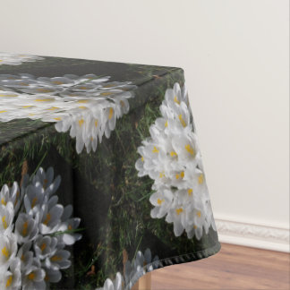 WHITE SPRING CROCUSES Tablecloth