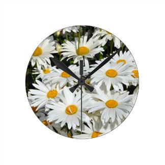 White spring daisies wallclocks