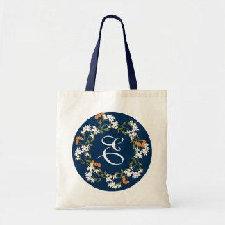 White Spring Flowers & Orange Berries Wreath Tote Bag