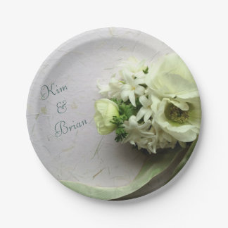 White spring flowers with ribbon paper plate