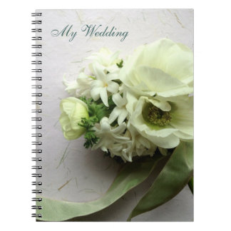 White spring flowers with ribbon spiral notebook