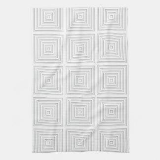 White Square Geometric Kitchen Towel