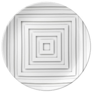 White Square Geometric Plate