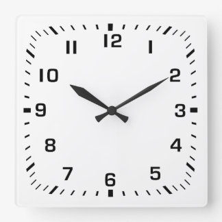 White Square Wall Clock with Numbers