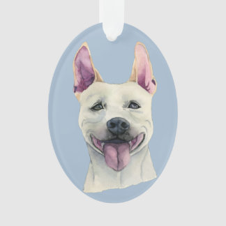White Staffordshire Bull Terrier Dog Watercolor