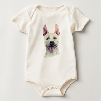 White Staffordshire Bull Terrier Dog Watercolor Baby Bodysuit