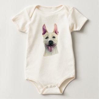 White Staffordshire Bull Terrier Dog Watercolor Baby Bodysuit