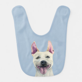 White Staffordshire Bull Terrier Dog Watercolor Bib