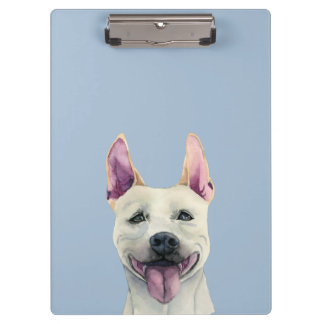 White Staffordshire Bull Terrier Dog Watercolor Clipboards