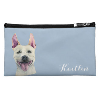 White Staffordshire Bull Terrier Dog Watercolor Cosmetic Bag