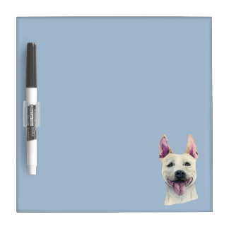 White Staffordshire Bull Terrier Dog Watercolor Dry-Erase Whiteboard