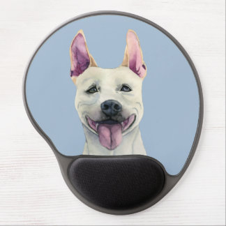 White Staffordshire Bull Terrier Dog Watercolor Gel Mouse Pad
