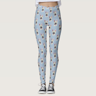White Staffordshire Bull Terrier Dog Watercolor Leggings