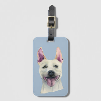 White Staffordshire Bull Terrier Dog Watercolor Luggage Tag